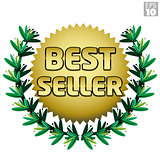 Wreath with gold Best Seller burst, badge, award or accolade.
