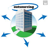 Medium sized company building with outsourcing text and arrows depicting growth or business strategy.