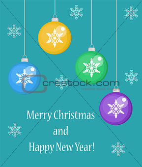 Christmas card with balls, Happy New Year and Merry . vector illustration