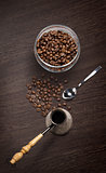 coffee attributes on a wooden background