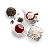 tea accessories on a white background