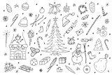 Hand drawn christmas elements set.