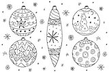 Christmas balls collection in doodle style.