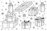 Hand drawn gift boxes.Christmas gifts.