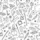 Christmas seamless pattern in doodle style.Hand drawn illustration.