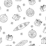 Christmas gifts seamless pattern in doodle style.