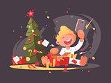 Child opens Christmas present.