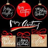 Vintage Merry Christmas And Happy New Year Handdrawn Calligraphic And Typographic labels set. Decorations elements, Symbols, Icons, Frames, Ornaments and Ribbons, set.