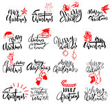 Merry Christmas handwritten lettering. Typographic emblems set. Vector logo, text design. Usable for banners, greeting cards, gifts, labels.
