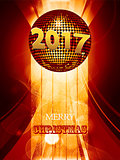 Christmas 2017 glowing background with disco ball