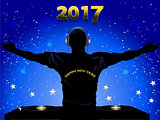 New Years 2017 DJ silhouette and record decks background