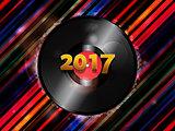 Twenty Seventeen New Year vinyl record background