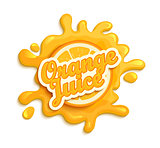 Orange juice label splash.