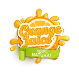 Orange juice natural label splash.