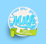 Milk label splash. Natural.
