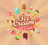 Ice cream collection, vector.