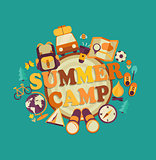 Summer camp, vector.