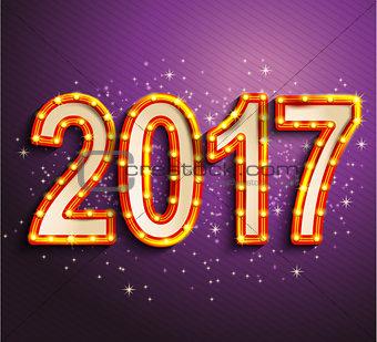Happy 2017 new year shining retro light.