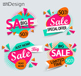 Sale - set of bright modern labels.
