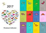 Dinosaurs calendar 2017 design