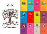 Owls calendar 2017 design