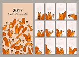 Squirrel calendar 2017 design