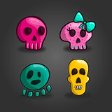Set of cartoon skulls