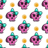 Seamless pattern with cartoon skulls
