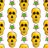 Seamless pattern with cartoon skulls