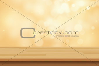 vector wood table top on golden bokeh abstract background