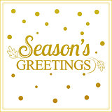 Vector gold seasons greetings card design.Vintage card for holid