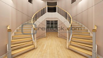 Bright staircase in the modern office 3d rendering