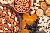Different nuts and dried fruits