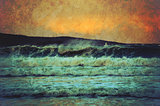 Grunge seascape of rough waves at sunset