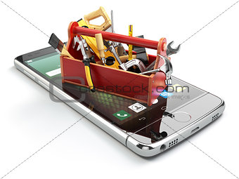 Smartphone service. Online technical support concept. Mobile pho