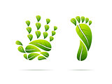 Ecological leaves concept icons. Hand and foot shaped. Vector illustration.
