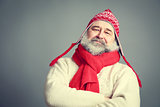 Serious Old Man with Beard in Funny Winter Clothes