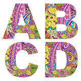 English alphabet with colorful vintage pattern