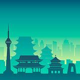 Famous city scape in color.