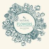 Flower vintage styled sketch background.