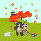 Forest animals on autumn meadow vector illustration.