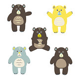 Set of fun cartoon vector bears for kids.