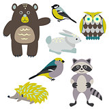 Forest cartoon animals isolated on white for kids.