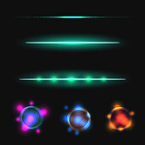 Glow stick line vector effect set.
