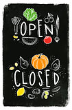 Eco signboard open close chalk