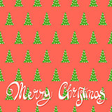 Red background with Christmas trees