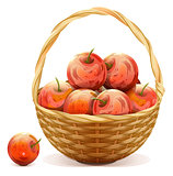Wicker basket full of red apples