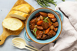 Traditional  beef goulash - Boeuf bourguigno. Comfort food. Stew meat with vegetables