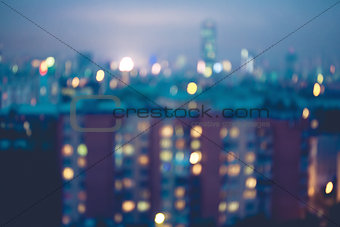 Abstract blurred city lights background