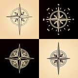 Hand drawn compass wind rose symbol